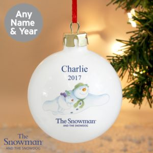 Personalised The Snowman and the Snow dog Flying Bauble