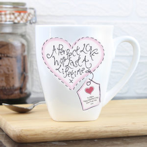 Personalised Stitch Heart Perfect Love Latte Mug