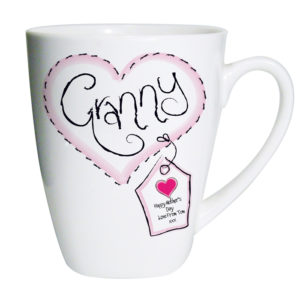 Personalised Heart Stitch Granny Latte Mug
