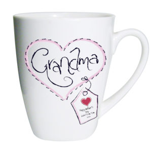Personalised Heart Stitch Grandma Latte Mug