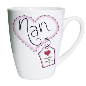Personalised Heart Stitch Nan Small Latte