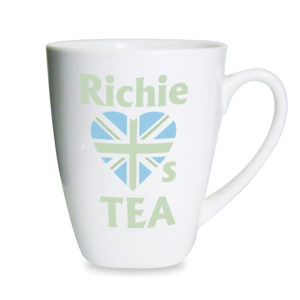 Personalised Green Union Jack Latte Mug